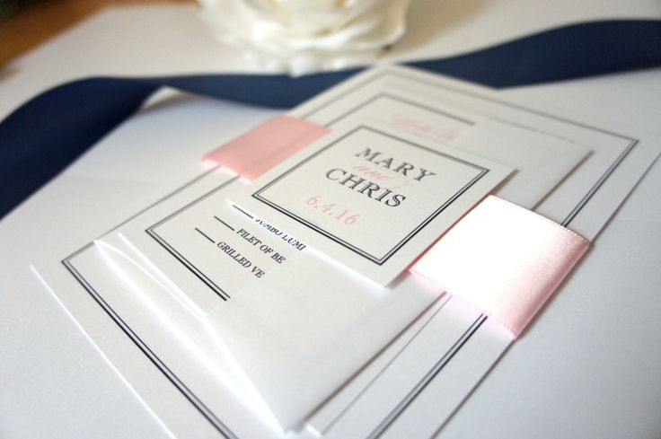 Elegant Pink and Blue Wedding Invitation, Classic Wedding Invitation, Belly Band, Pink Wedding Invites, Navy and Pink Wedding - DEPOSIT