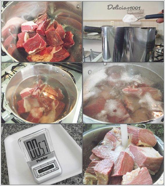 Testado e aprovado! S.O.S. -> como tirar o sal de carne seca (ou salgada) quando estamos com pressa? Queria preparar escondidinho de carne seca, mas não tinha deixado a carne de molho de véspera…