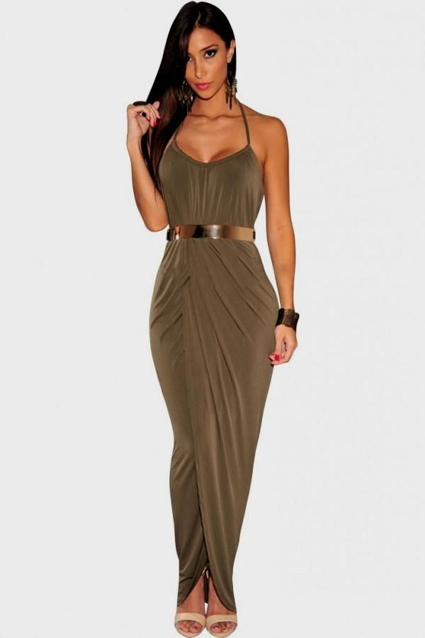 Sexy Halter Draped Gold Belted Olive Jersey Maxi Dress - OASAP.com