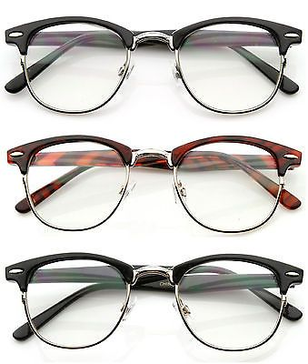 80' s Vintage ClubsMan Horned Rim Half Frame Clear Poly Carbon Lens Glasses in Clothing, Shoes & Accessories, Unisex Clothing, Shoes & Accs, Unisex Accessories | eBay