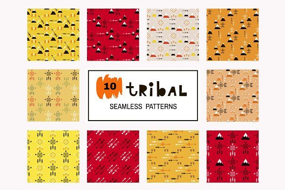 Tribal seamless patterns by TATIANA_GERICH on @creativemarket