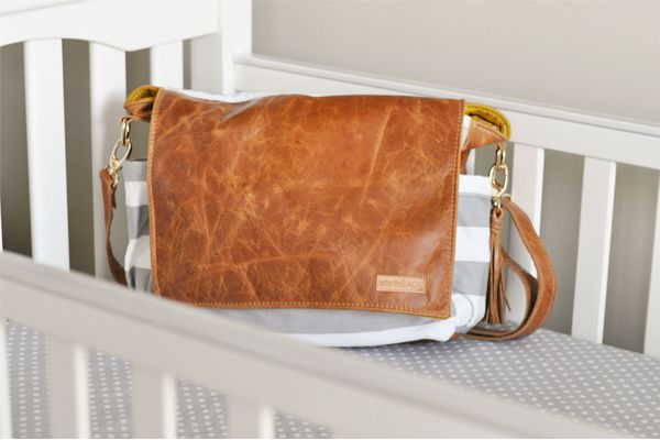 Better Life Bag: Emily Diaper Bag - brown leather with gray and white stripes; gold hardware; zippered inside pocket