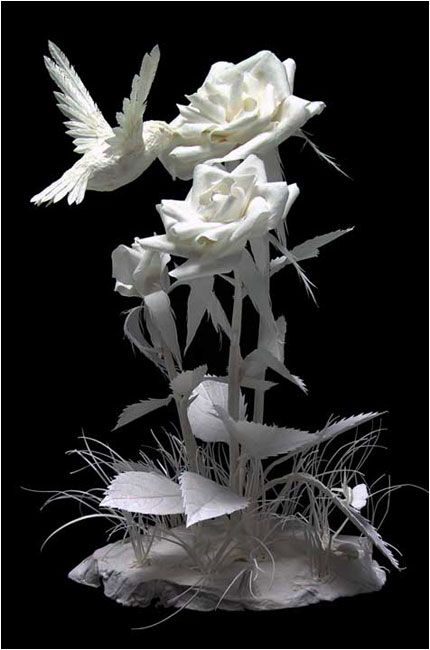 "The ""Hummin' in the Roses"", by Patty Eckman (Paper Sculptures). I like all art about hummingbirds, this is special one."