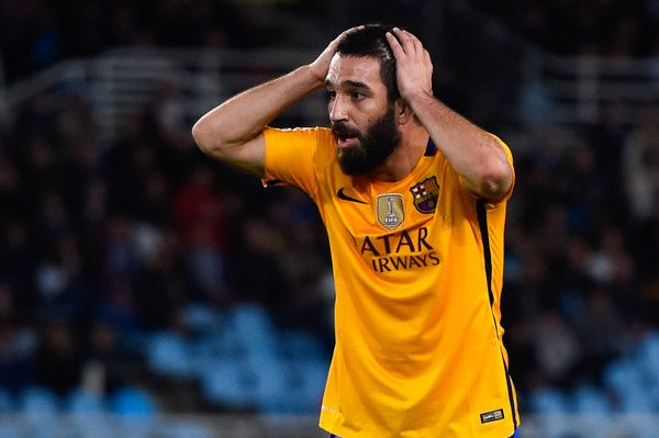 Arda Turan of FC Barcelona reacts after missing a chance to score during the La Liga match between Real Sociedad de Futbol and FC Barcelona at Estadio Anoeta on April 9, 2016 in San Sebastian