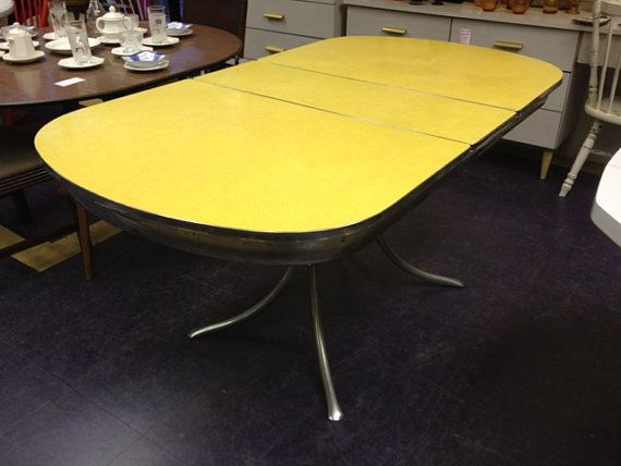 vintage yellow formica chrome dining table