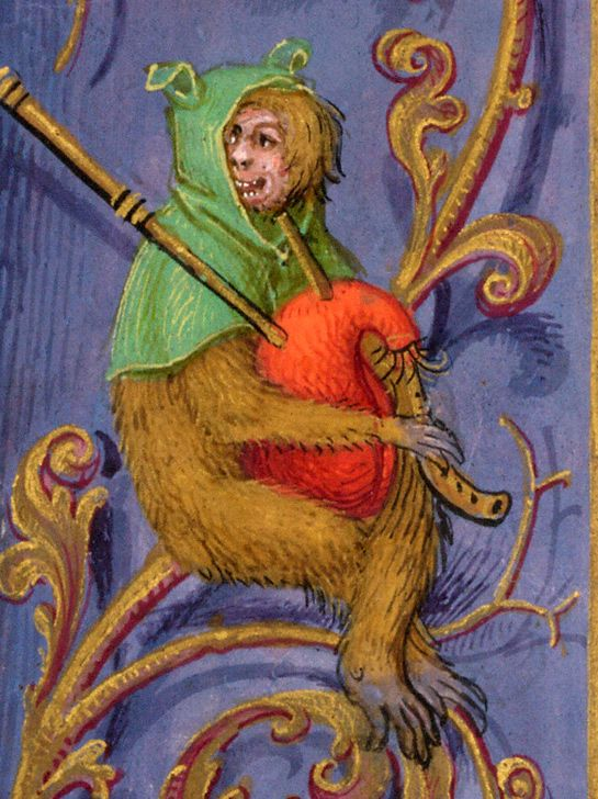Uomo scimmia con cornamusa. Ape-man with bagpipe. Miniatura tratta dal/ by 'Breviario di Isabella di Castiglia' (fine/end XV sec.), British Library, London.