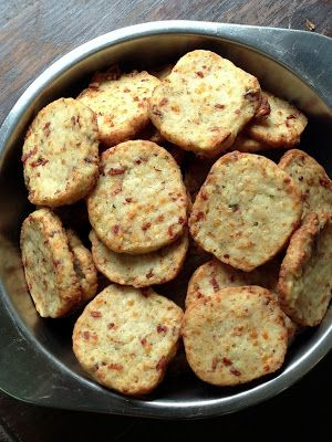 "Bacon Parmesan Shortbread Crackers ~ via this blog, ""From Everyday to Gourmet""."