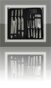 Ross Henery Professional Chefs Knife set. It is made from triple hardened, stainless steel. The whole set is valued at $399, but is going for $119.99 at amazon. The whole knife, is made from the finest, Triple hardened steel material. Making it the best, in safety and hygiene. They are suitable for dish washers, but as with all stainless steel, they need to be dried straight after being washed. http://theceramicchefknives.com/professional-chef-knives-sets/ 6-inch boning knife, boning knife,