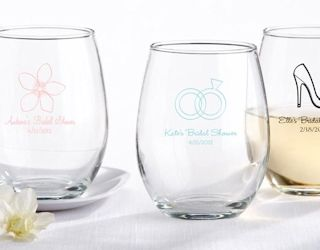 Personalized Stemless Wine Glasses.  Discounts for volume orders. Perfect for wedding favours! Includes design.  #thingsengraved #thingsengravedgifts