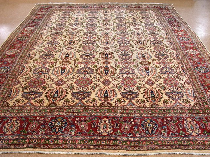 10 X 13 Antique Persian Mahal Hand Knotted Wool Ivory Rust