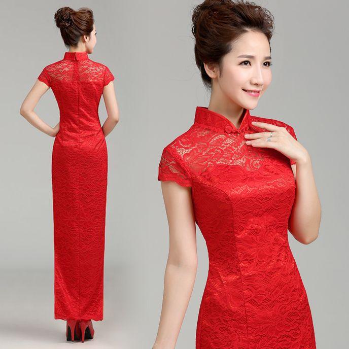 Mandarin collar long sheath dress white lace Chinese cheongsam | Red Chinese Dress
