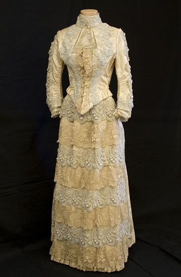 House of Worth, 2-Piece Dress of Beaded Satin Damask. Paris, 1888-1900.