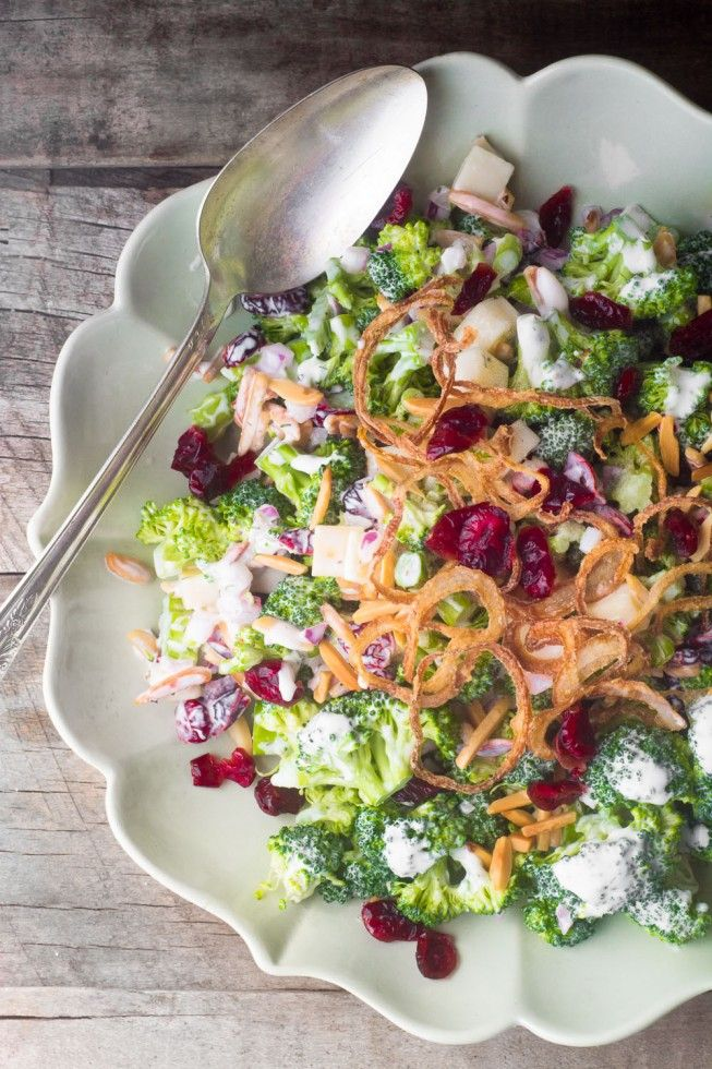Skinny Broccoli Salad, an American classic made healthier!  This easy healthy salad recipe is low calorie, low carb, and delicious! theviewfromgreatisland.com