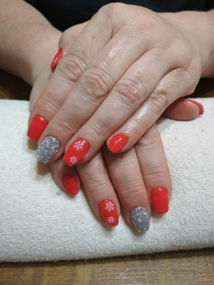 red gel, white flake and silver glitter