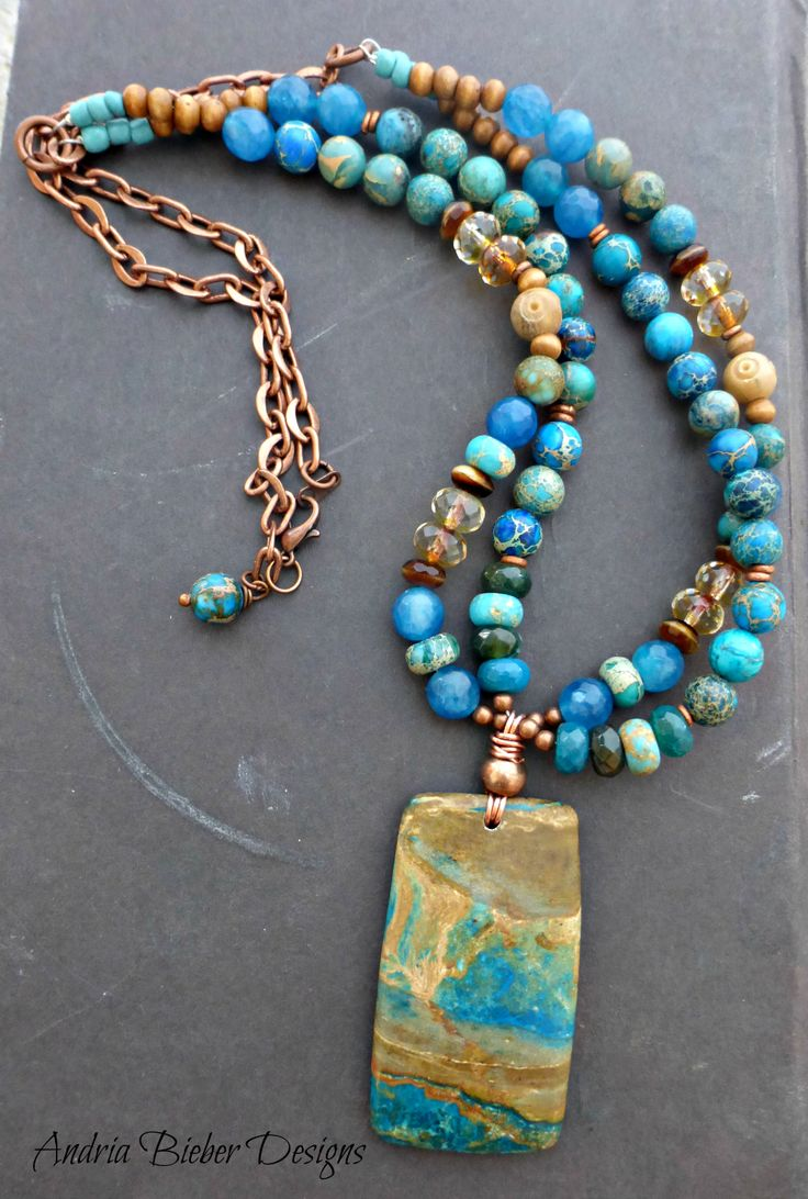 Stone, ceramic, metal beaded necklace. Jasper, aga…