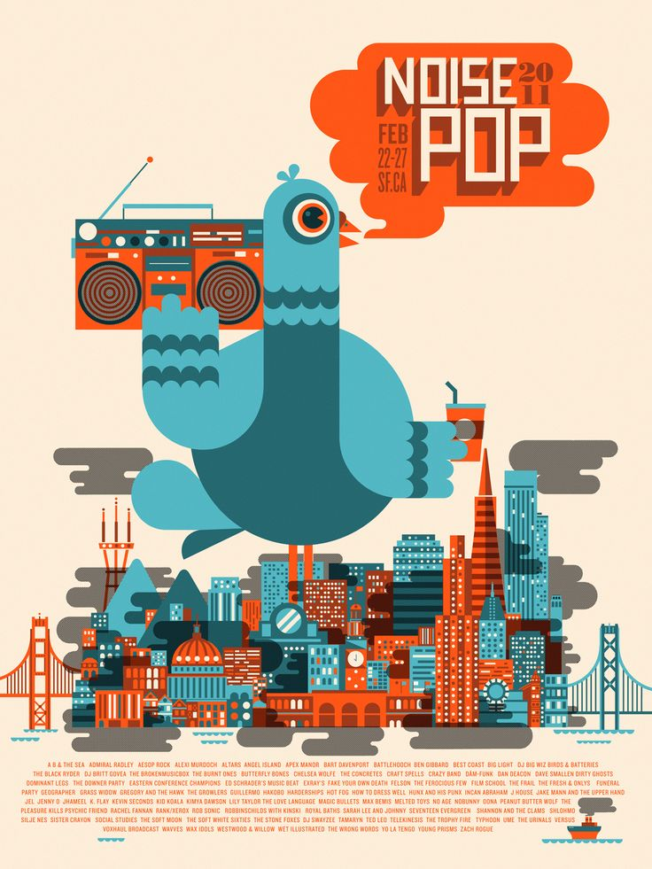 Festival Poster Noise Pop with a pigeon #poster #music #festival