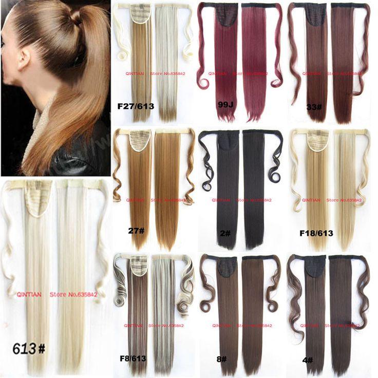 Synthetische wrap rond paardenstaart clip in op uitbreidingen invisible lint haarstukje pop pony 12 kleuren stright 24 inches 100g