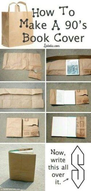用意するものは、ハサミと紙袋だけ! ①紙袋を開く。 ②本のサイズより大きめに袋を切る。 ③本に合わせて折る ④本にかぶせる ⑤完成! 作り方の動画もありました。