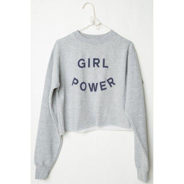 Nancy GIRL POWER Sweatshirt ($32) ❤ liked on Polyvore featuring tops, hoodies, sweatshirts, shirts, sweaters, graphic shirts, crop top, shirts & tops, graphic pullover sweatshirts and graphic crop tops