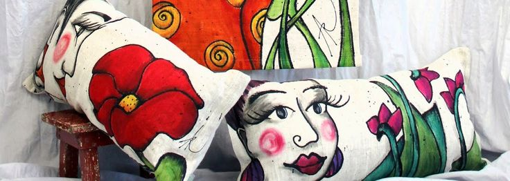 Popper woman, hand painted pillows