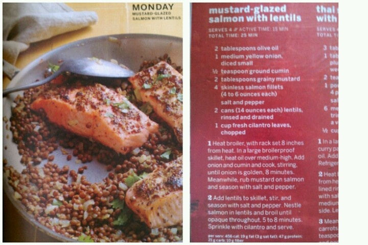 Mustard glazed salmon with lentils | Food and Drink | Pinterest