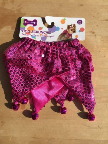 Dog Scrunchie Size M/L Pink Sequins With Pink Bells