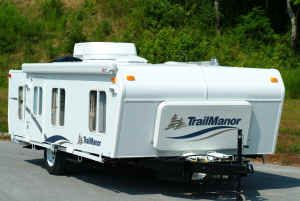 Trailmanor light weight easy towing travel trailer that tows like a fold down tent trailer