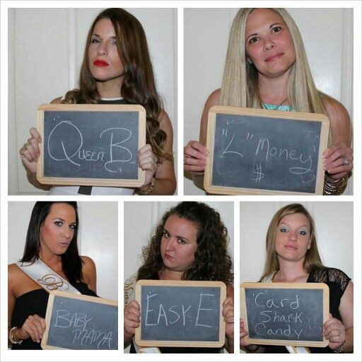 Bachelorette Party Mugshots...kinda cute. Just like the panty game, all different personalities!