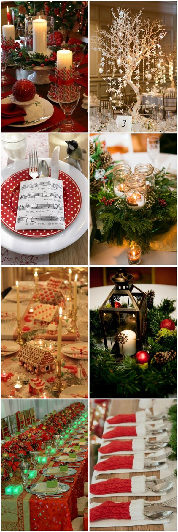 Country christmas table decoration ideas - Christmas Inspired Wedding Centerpiece Ideas