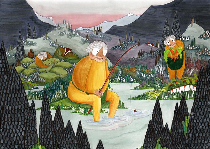 hunter-gatherer granny illustration by Signe Gabriel at signegabriel.com