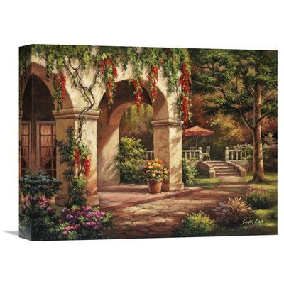 """Global Gallery 'Arch Courtyard II' by Sung Kim Painting Print on Wrapped Canvas Size: 12"""" H x 16"""" W x 1.5"""" D"""