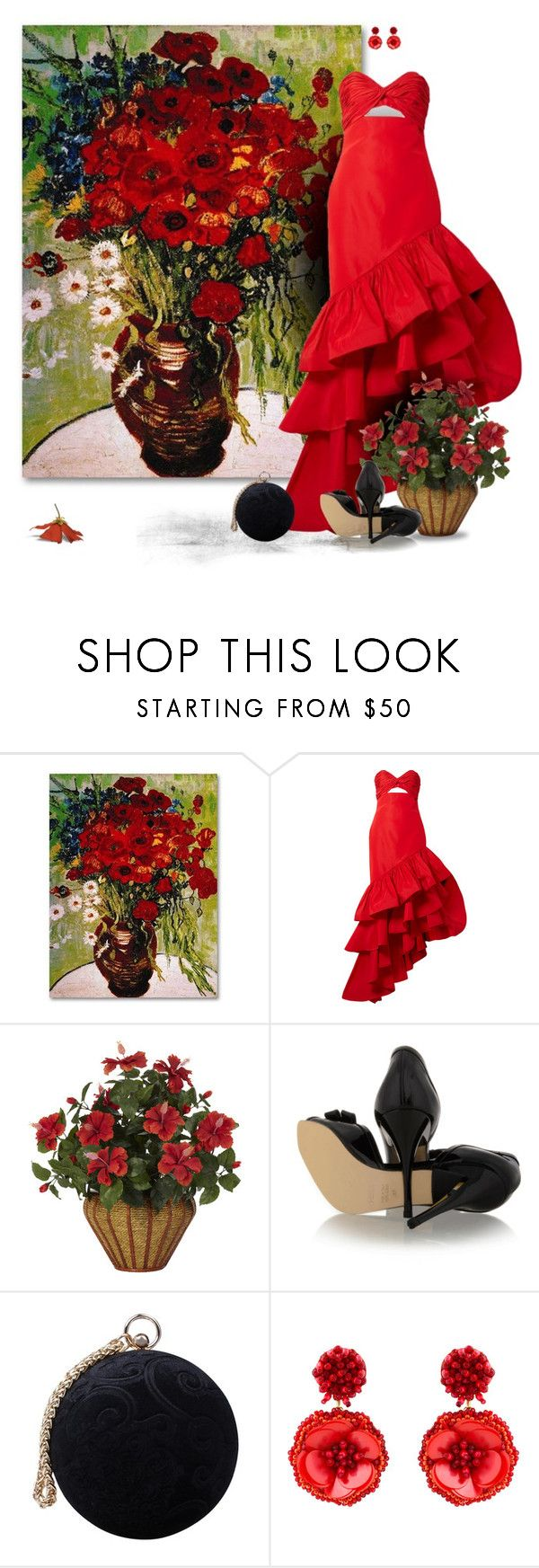 """Red Gown"" by leegal57 ❤ liked on Polyvore featuring Johanna Ortiz, Nearly Natural, Fendi, Carvela and Mignonne Gavigan"