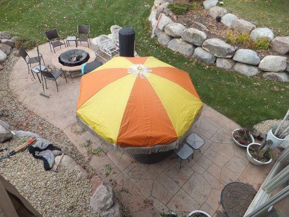 XL Samsonite Umbrella, Patio Table Umbrella, Vinyl Fringe Umbrella, EZ  Reach Raincover,