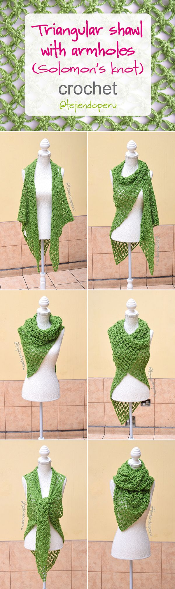 #Crochet: triangular shawl with armholes! Solomon's knot stitch :)  English subtitles video!