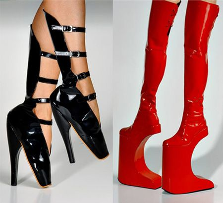 Bizarre Red Boots & ballerina shoes both shown worn by Lady Gaga..ouch!