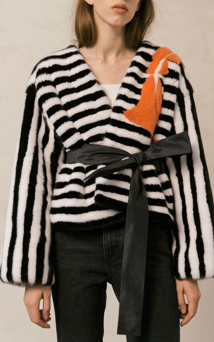 2017 Striped Mink Wrap Around Jacket by Color Temperature | Moda Operandi…