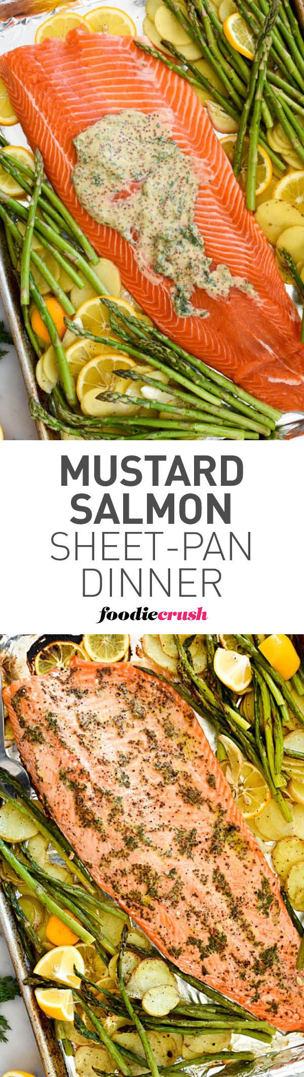 Mustard Salmon Sheet-Pan Dinner is a super simple dinner with minimal clean-up #salmon #shseetpan #fish #dinner | foodiecrush.com