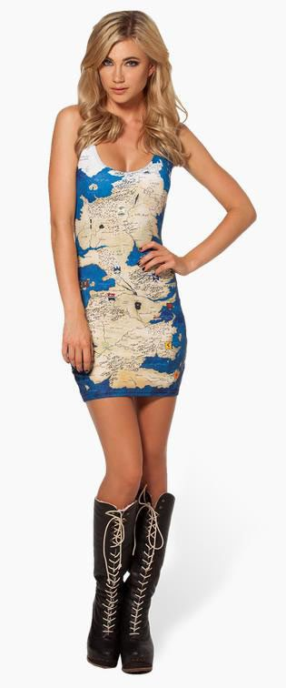 Vestido de tirantes Mapa de Poniente. Juego de Tronos Espectacular vestido y muy sexi inspirado en la serie de Tv, Juego de Tronos.