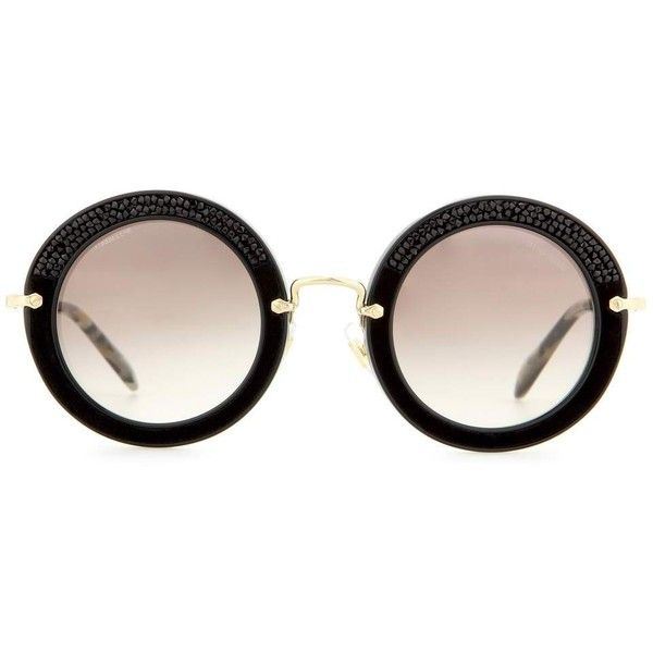 Miu Miu Round Sunglasses (11,580 THB) ❤ liked on Polyvore featuring accessories, eyewear, sunglasses, glasses, black, round frame glasses, miu miu, round sunglasses, miu miu eyewear and black glasses