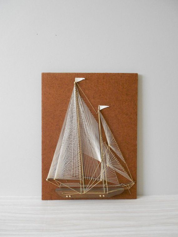 1960s sail boat string art picture // nautica wall by simplychi, $29.00