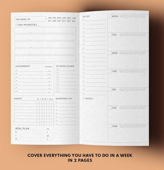 In een blik wekelijkse Planner versie 2.0 ▹ voor Midori Travellers notebook regelmatige grootte Afdrukbare  At A Glance-Weekplanner in minimale lay-out Deze 2 Weekplanner zijn bevatten alle lijst / ruimte voor alles wat die u nodig hebt om te krijgen wat gedaan in 1 week ▹ Datum ▹ Topprioriteiten ▹ Opdracht met Deadline ▹ Lezen / leren lijst ▹ Gewoonte Tracker ▹ Shopping List ▹ Meal Planner (nieuw!) ▹ To-do lijst ▹ Notities (nieuw!) ▹ Weekplanner ▹ Belangrijke taakpictogram (bovenste…
