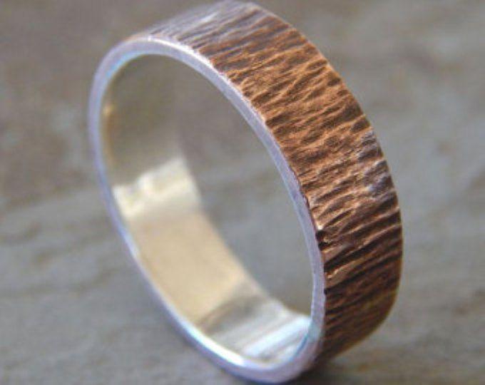 VIRUTA de plata y cobre / / 4-8 mm / anillo de boda de los hombres / anillo de boda de las mujeres / hombres boda banda / banda de boda de las mujeres / / único