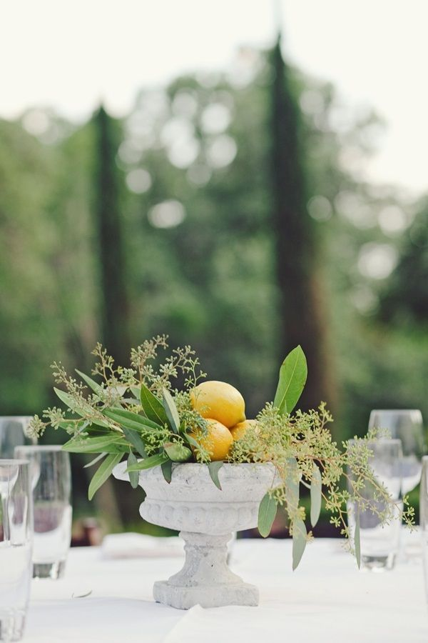 White vase with greenery and a cluster of lemons…. except we will use a modern vase with clean lines.