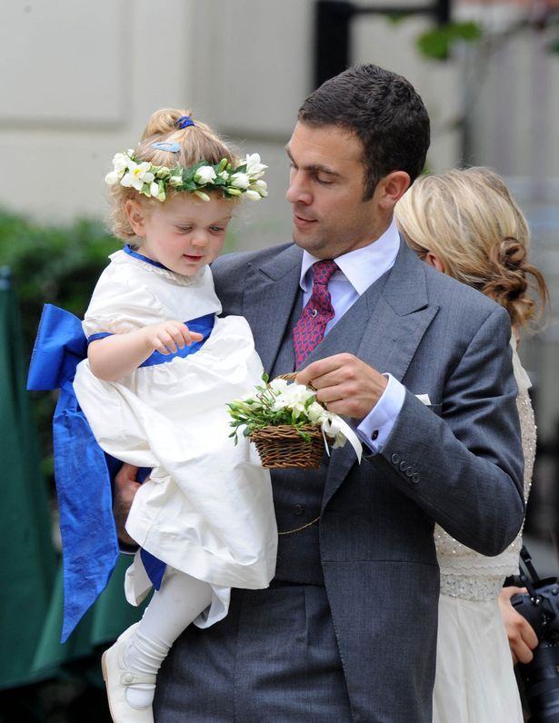 Hugh Van Cutsem, pictured here with his daughter Grace.  She was a flower girl at the wedding of William and Kate.
