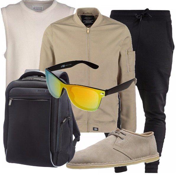 Per l'uomo con stile ma eleganza, propongo pantaloni neri con cavallo basso e canottiera color beige. Accompagnato da giacca color tortora e scarpe basse scamosciate anche esse in tortora. Occhiali da sole, un must e zainetto nero.