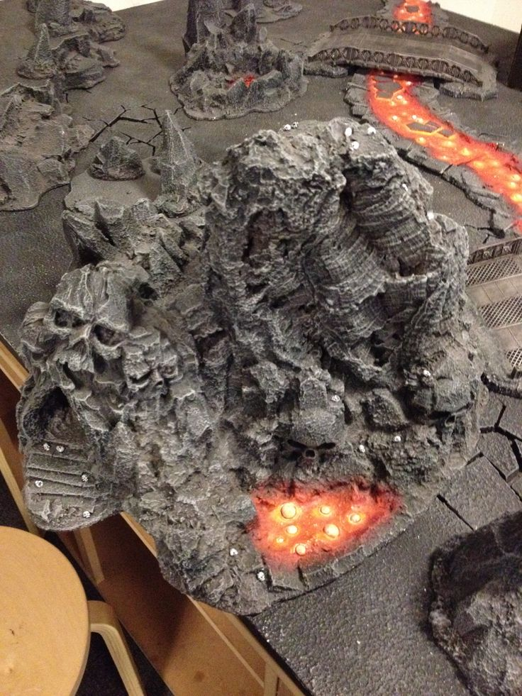 Daemon world - centre piece, skull cave with lava pool