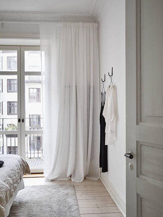 """100% Natural White Linen curtain 52"""" – Bedroom curtain – Pod pocket panels – Available colors – cu"""