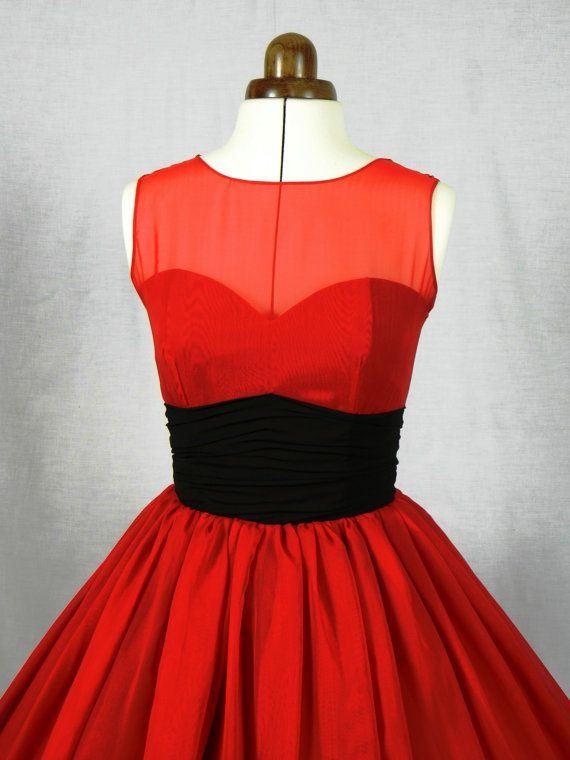 A 50s inspired ruby red chiffon rock ability by elegance50s, $265.00