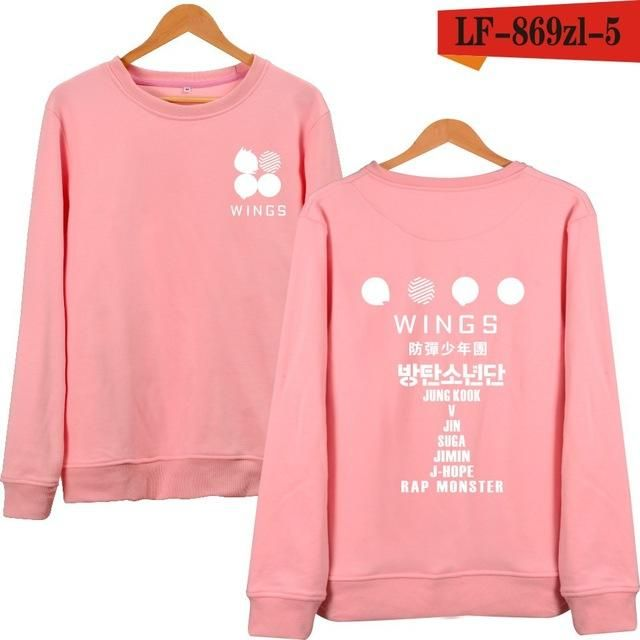 KELUOXIN Sweatshirt New 2017 Arrival Kpop BTS WINGS Album Hoodies For Women Men Bangtan Boys Streetwear Black Pink Clothes xxxxl