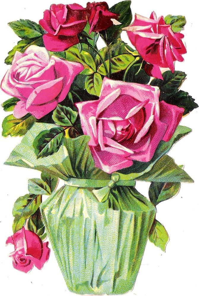 Oblaten Glanzbild scrap die cut chromo Blumen stock 14,5cm flower pot fleur rose: